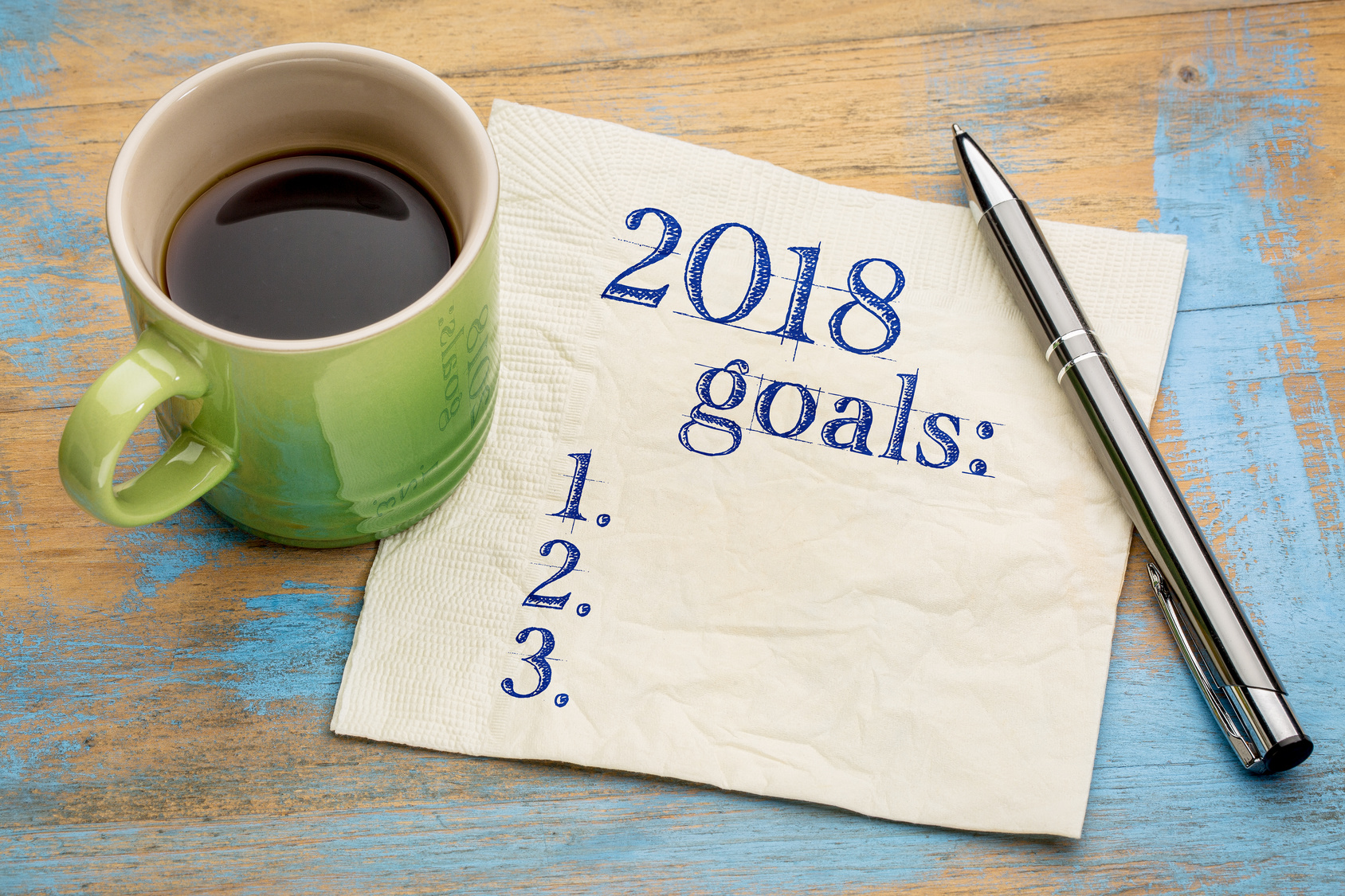 Fotolia 2018 year goals list on napkin